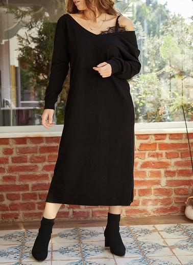 XHAN Tek Omuz Dantel Detaylı Yırtmaçlı Elbise 9Yxk6-41941-02 Siyah